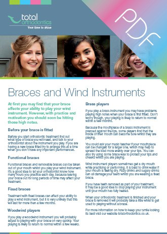 Braces and wind instruments